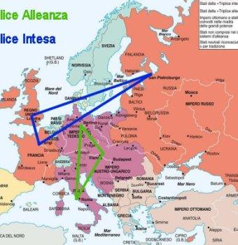 Le alleanze nell'Europa del 1914, alla vigilia della Prima guerra mondiale