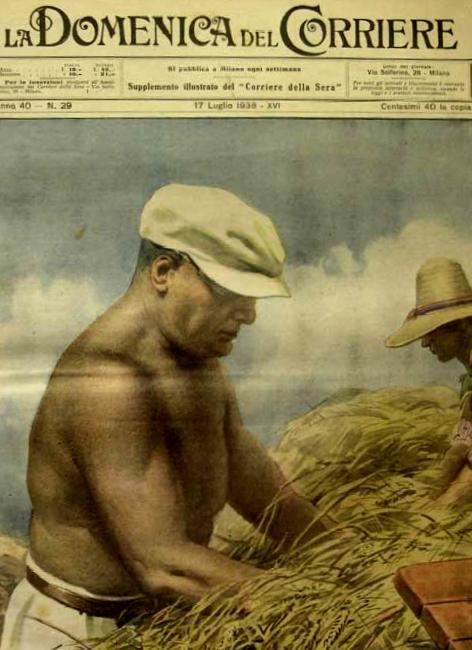 Benito Mussolini sulla copertina della Domenica del Corriere